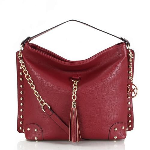 Michael Kors Stud Tassel Large Wine Red Shoulder Bags