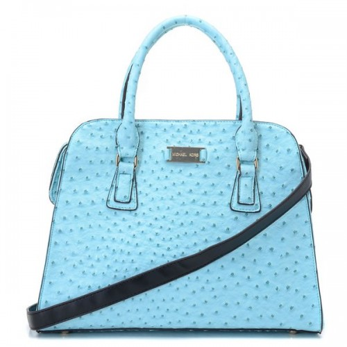 Michael Kors Gia Satchel Blue Ostrich-embossed