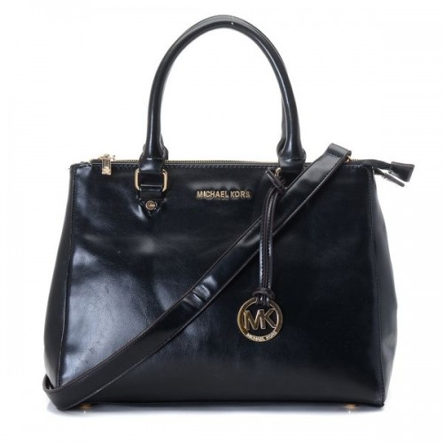 Michael Kors Large Bedford Leather Dressy Tote Black