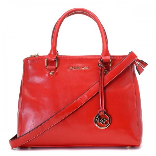 Michael Kors Large Bedford Saffiano Dressy Tote Red