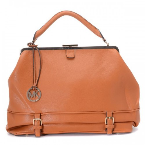 Michael Kors Littleton Frame Satchel Cinnamon Pebbled Leather