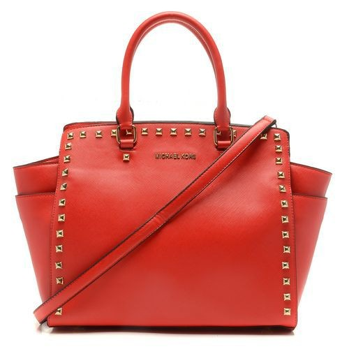 Michael Kors Selma Studded Saffiano Large Red Totes