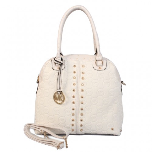 Michael Kors Bedford Bowling Medium White Satchels