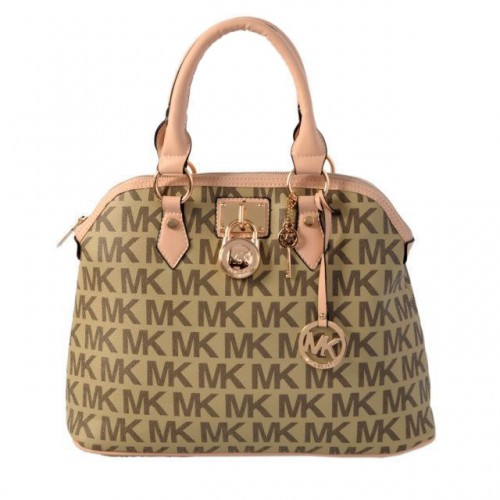Michael Kors Bedford Logo Medium Beige Satchels