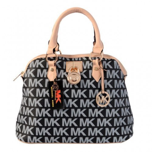 Michael Kors Bedford Logo Medium Black Satchels