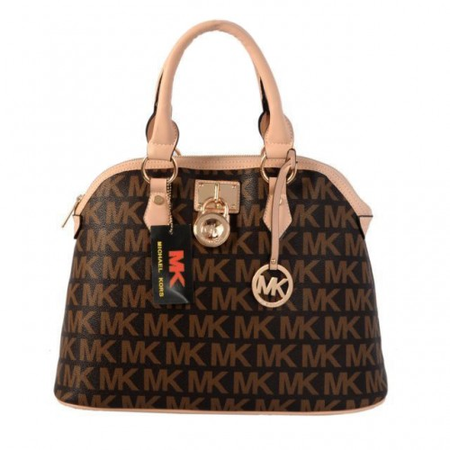 Michael Kors Bedford Logo Medium Brown Satchels