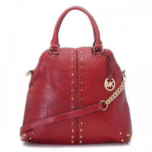 Michael Kors Bowling Stud Medium Red Satchels