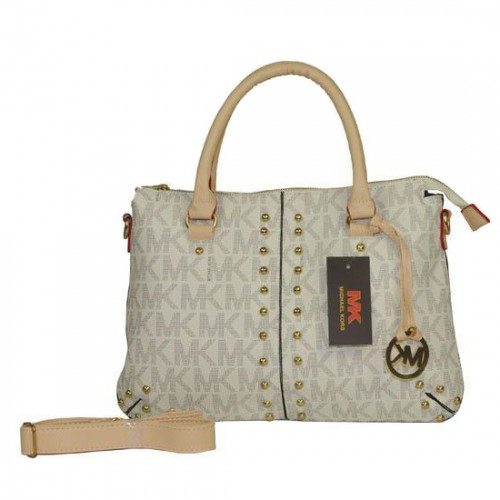 Michael Kors Logo Signature Medium Vanilla Satchels