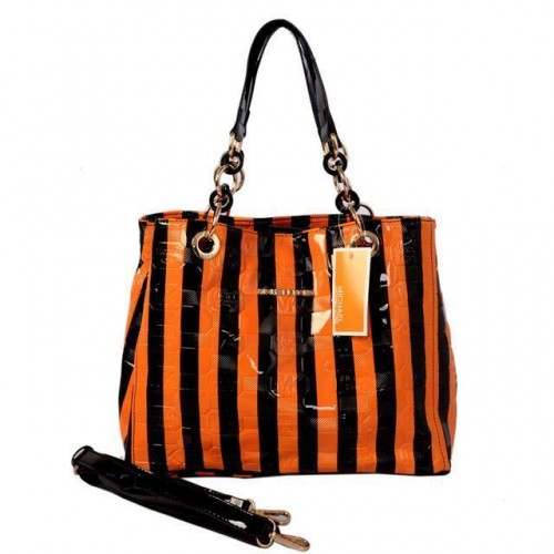 Michael Kors Striped Embossed Leather Large Orange Satchels