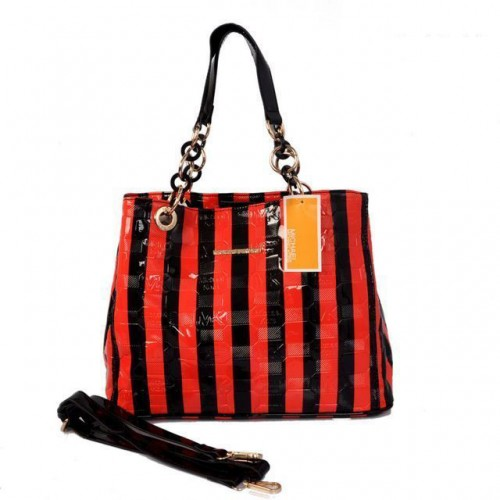 Michael Kors Striped Embossed Leather Large Red Satchels