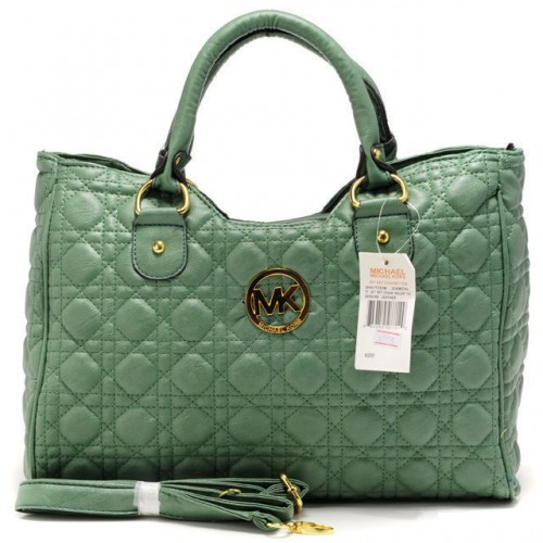 Michael Kors Fulton Quilted Large Green Satchels
