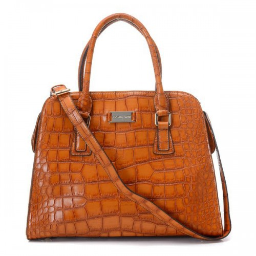 Michael Kors Gia Crocodile-Embossed Large Brown Satchels