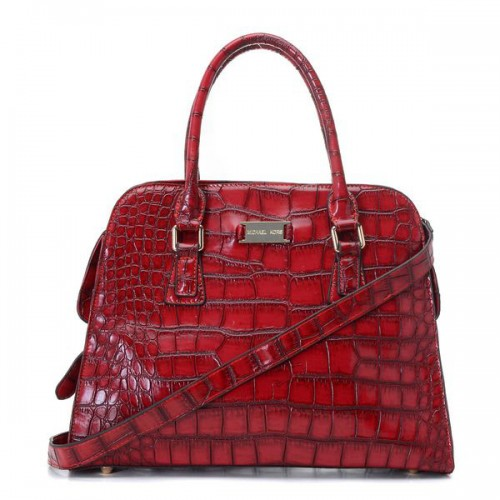 Michael Kors Gia Crocodile-Embossed Large Red Satchels