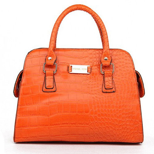 Michael Kors Gia Embossed Large Orange Satchels