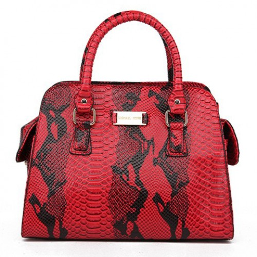 Michael Kors Gia Embossed Large Red 001 Satchels