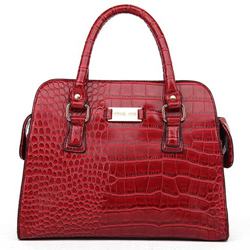 Michael Kors Gia Embossed Large Red Satchels