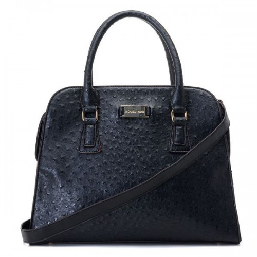 Michael Kors Gia Ostrich-Embossed Large Black Satchels