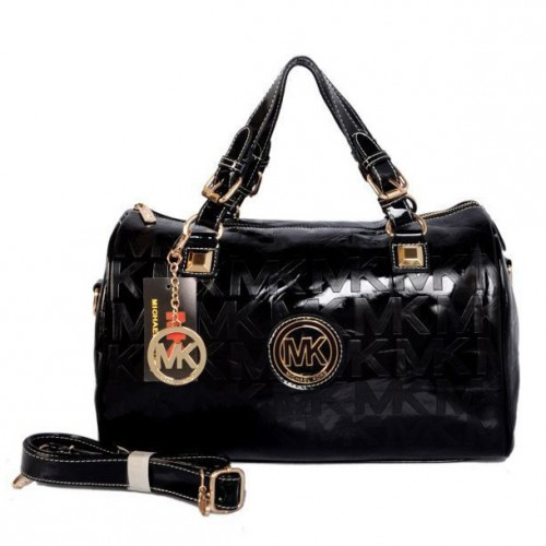 Michael Kors Grayson Logo Large Black Satchels