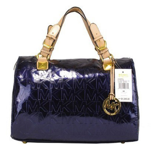 Michael Kors Grayson Logo Large Blue 002 Satchels