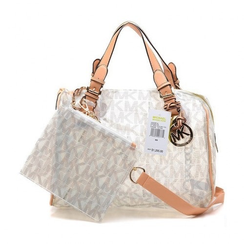 Michael Kors Grayson Plastic Large White Satchels
