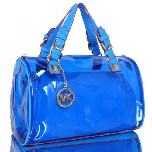 Michael Kors Grayson Plastic Medium Blue Satchels