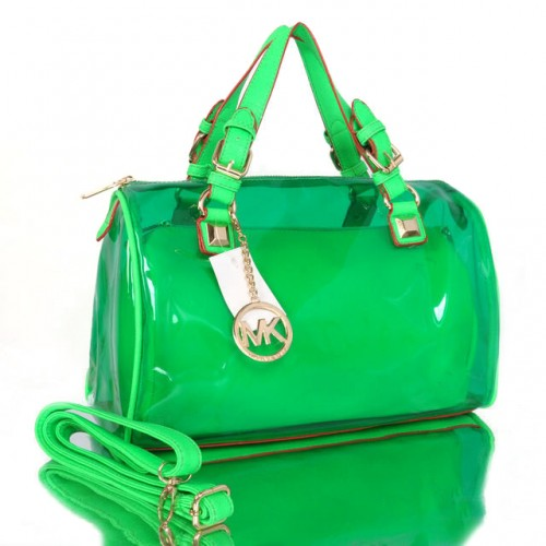 Michael Kors Grayson Plastic Medium Green Satchels