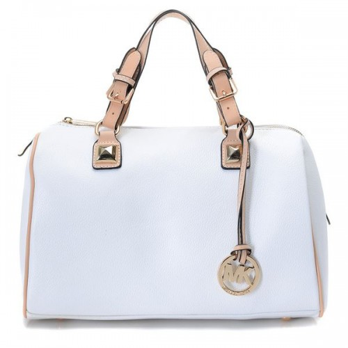 Michael Kors Grayson Simple Large White Satchels
