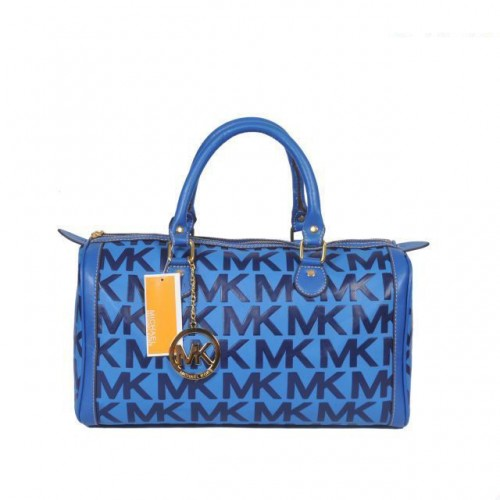 Michael Kors Logo Large Blue Satchels