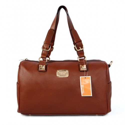 Michael Kors Logo Medium Brown Satchels