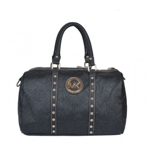 Michael Kors Logo Studded Large Black Satchels