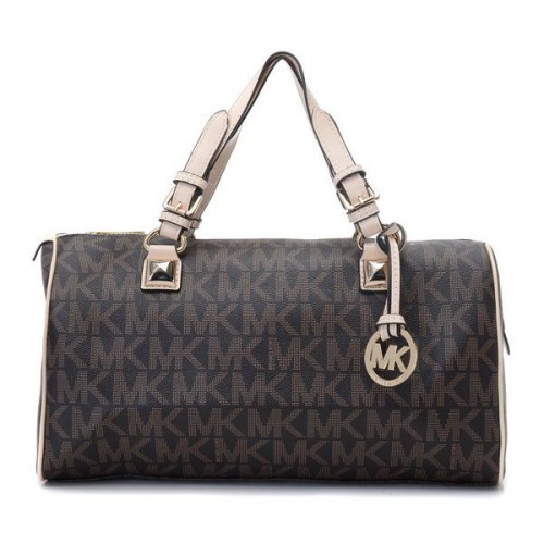 Michael Kors Logo-Print Medium Brown Satchels
