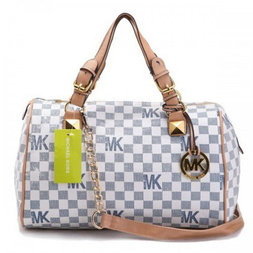 Michael Kors Monogram Signature Vanilla Pvc Large Blue Satchels
