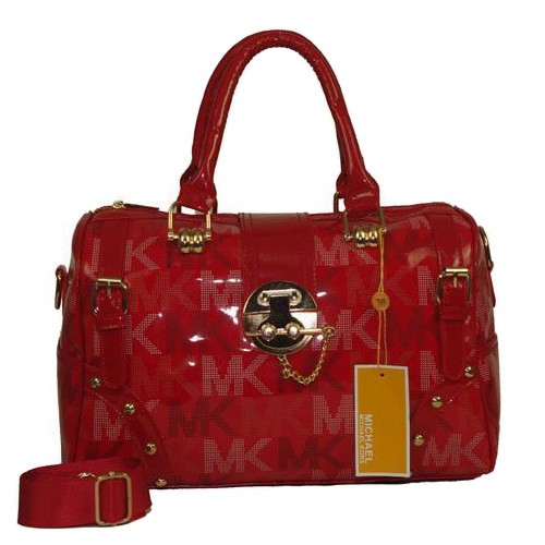 Michael Kors Pyramid Stud Logo Large Red Satchels
