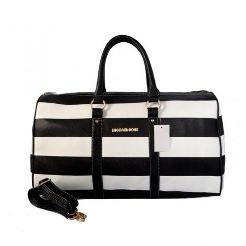 Michael Kors Striped Travel Medium Black White Satchels
