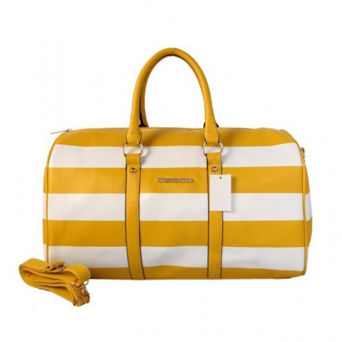 Michael Kors Striped Travel Medium Yellow White Satchels