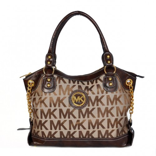Michael Kors Jacquard Monogram Large Brown 005 Satchels