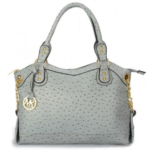 Michael Kors Ostrich-Embossed Large Grey Satchels