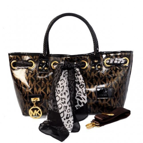 Michael Kors Scarf Jacquard Medium Coffee Satchels