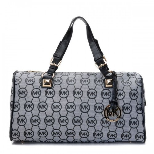 Michael Kors Grayson Large Monogram Satchel Grey Black