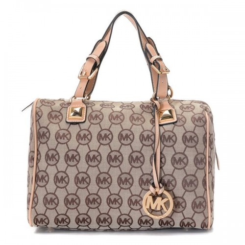 Michael Kors Grayson Medium Monogram Satchel Beige Buff