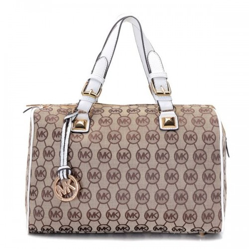 Michael Kors Grayson Medium Monogram Satchel Beige Ebony