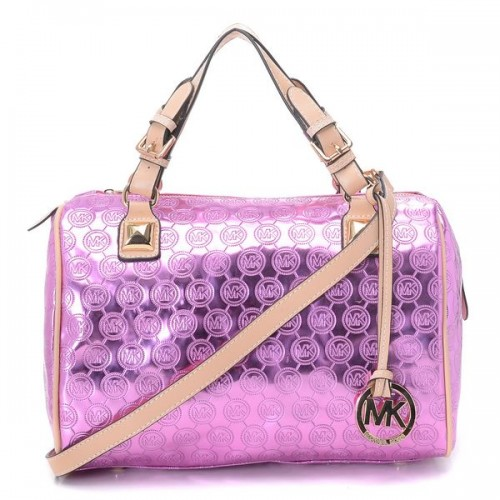 Michael Kors Grayson Medium Paint Leather Satchels Pink