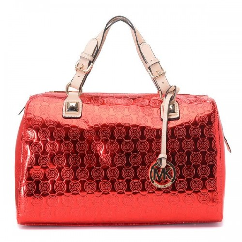 Michael Kors Grayson Medium Paint Leather Satchels Red