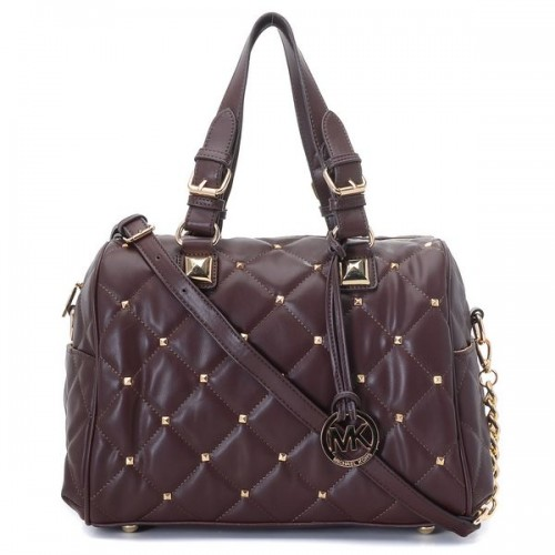 Michael Kors Stud Quilted Satchel Coffee
