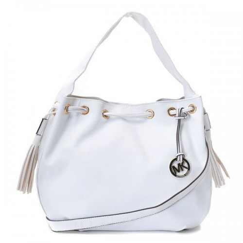 Michael Kors Logo Chain Large White Shoulder Bags