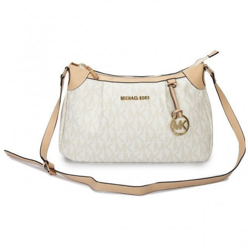 Michael Kors Jet Set Logo Medium White Shoulder Bags