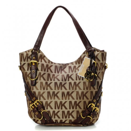 Michael Kors Milo Monogram Large Beige Shoulder Bags