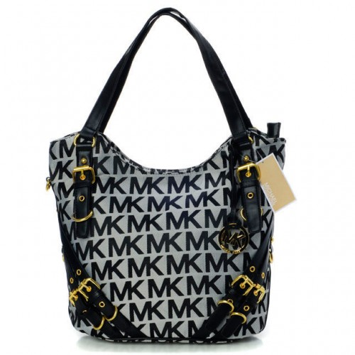 Michael Kors Milo Monogram Large Grey Shoulder Bags