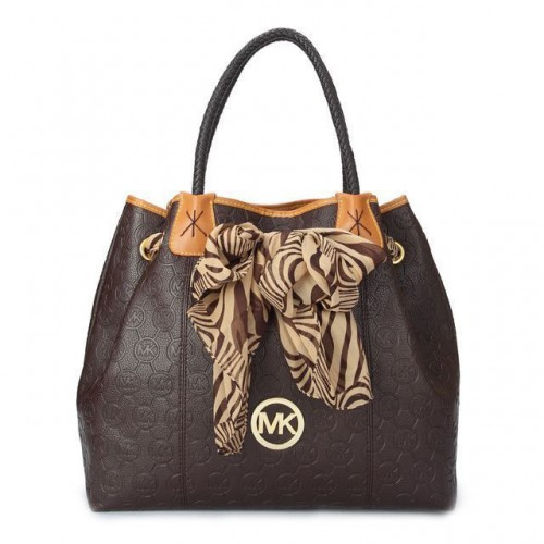 Michael Kors Scarf Jacquard Large Coffee Shoulder Bags