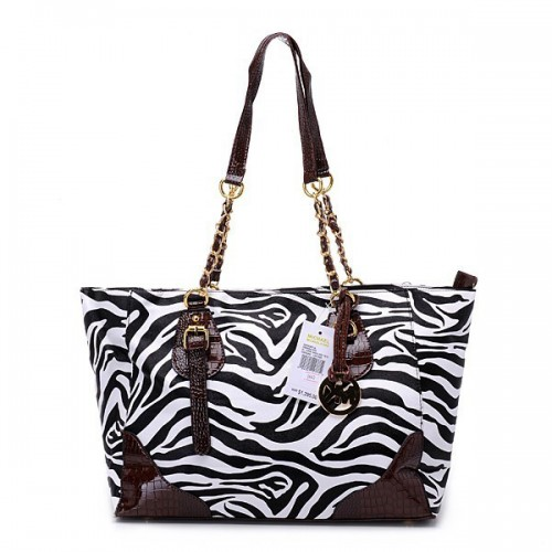 Michael Kors Zebra Chain Large Black Shoulder Bags